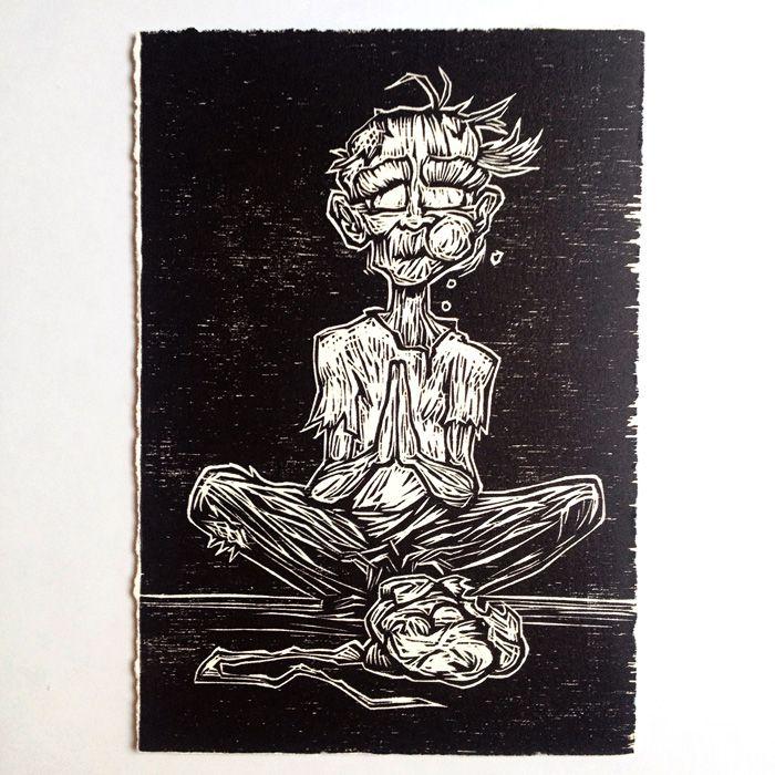 """Zombie"" (2013) Woodcut print by Darcy J. Watt Limited Edition of 25  $15USD"