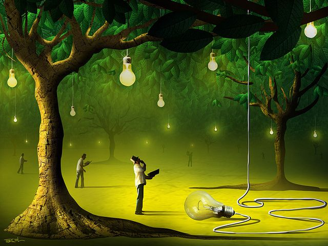 Made by: Marcel Caram, Light Bulbs to light the Night - surrealism