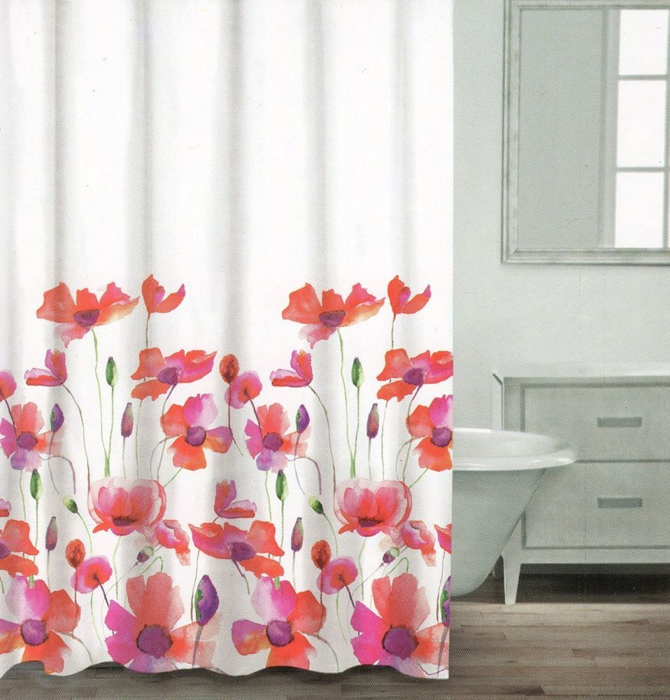 Caro Poppy Seed Cotton Shower Curtain Floral Botanical Nature Red