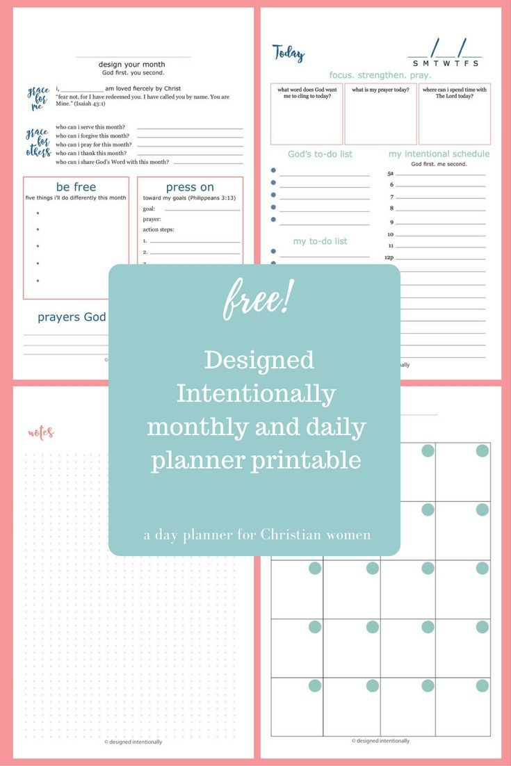 Free Designed Intentionally Planner Printable  A Day Planner For