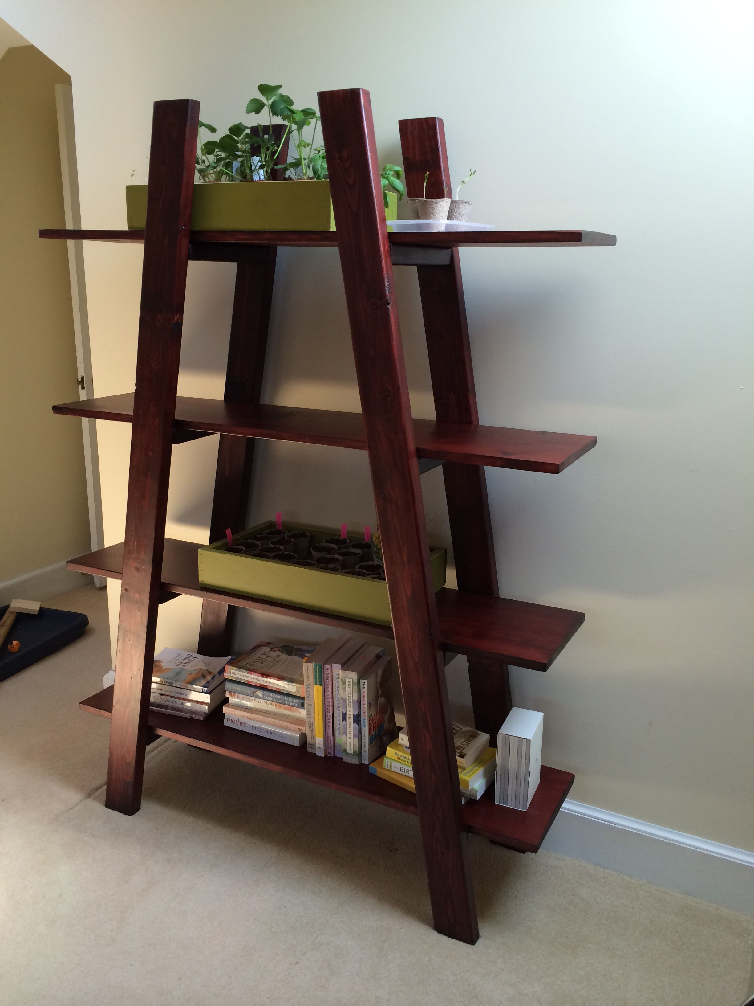 New bookshelf for our master. Perfect for growing seedlings under skylight. In love!