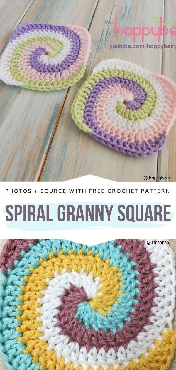 Spiral Granny Square Free Crochet Pattern   crochetcoaster