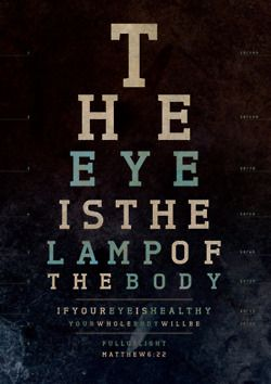 The eye is the lamp of the body. Matthew 6:22. Designed by Marta ...