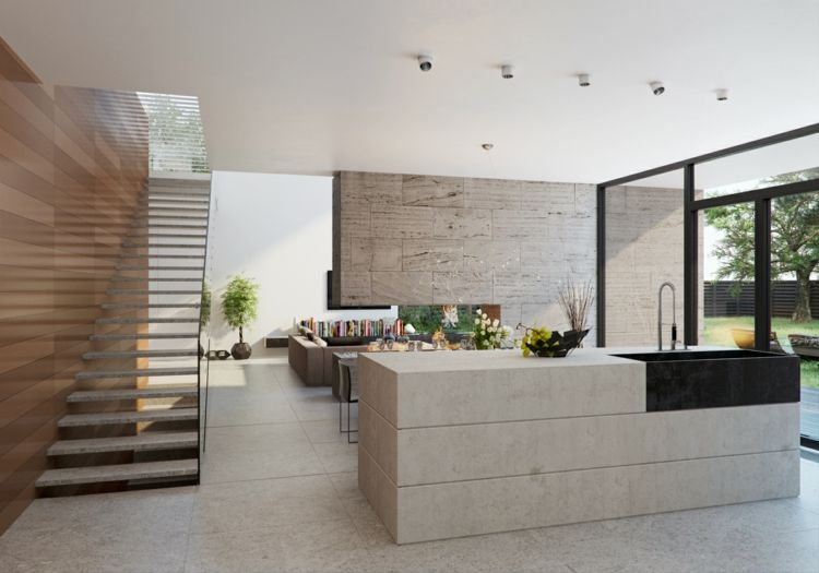 naturstein-küche-kochinsel-kücheninsel-stein-idee-beige-schwarze - naturstein arbeitsplatte küche