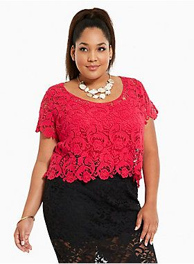 b3d33724183 Crochet Lace Crop Top. What s New on Sale in Women s Plus Size Clothing