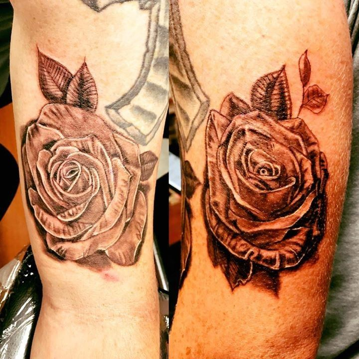 olio Roses Tattoo by Rudy from Evil Twin Tattoo and Art