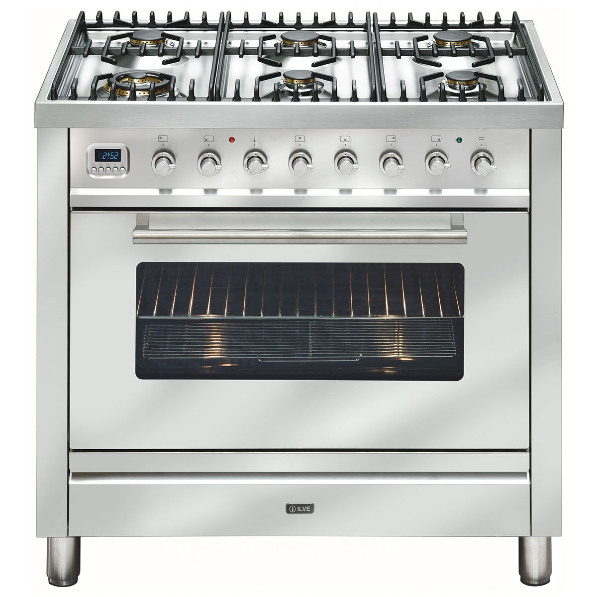 Freestanding Ilve Dual Fuel Oven Stove Nt906wmpss 90cm Cooker With 6 Gas Burners And Electric