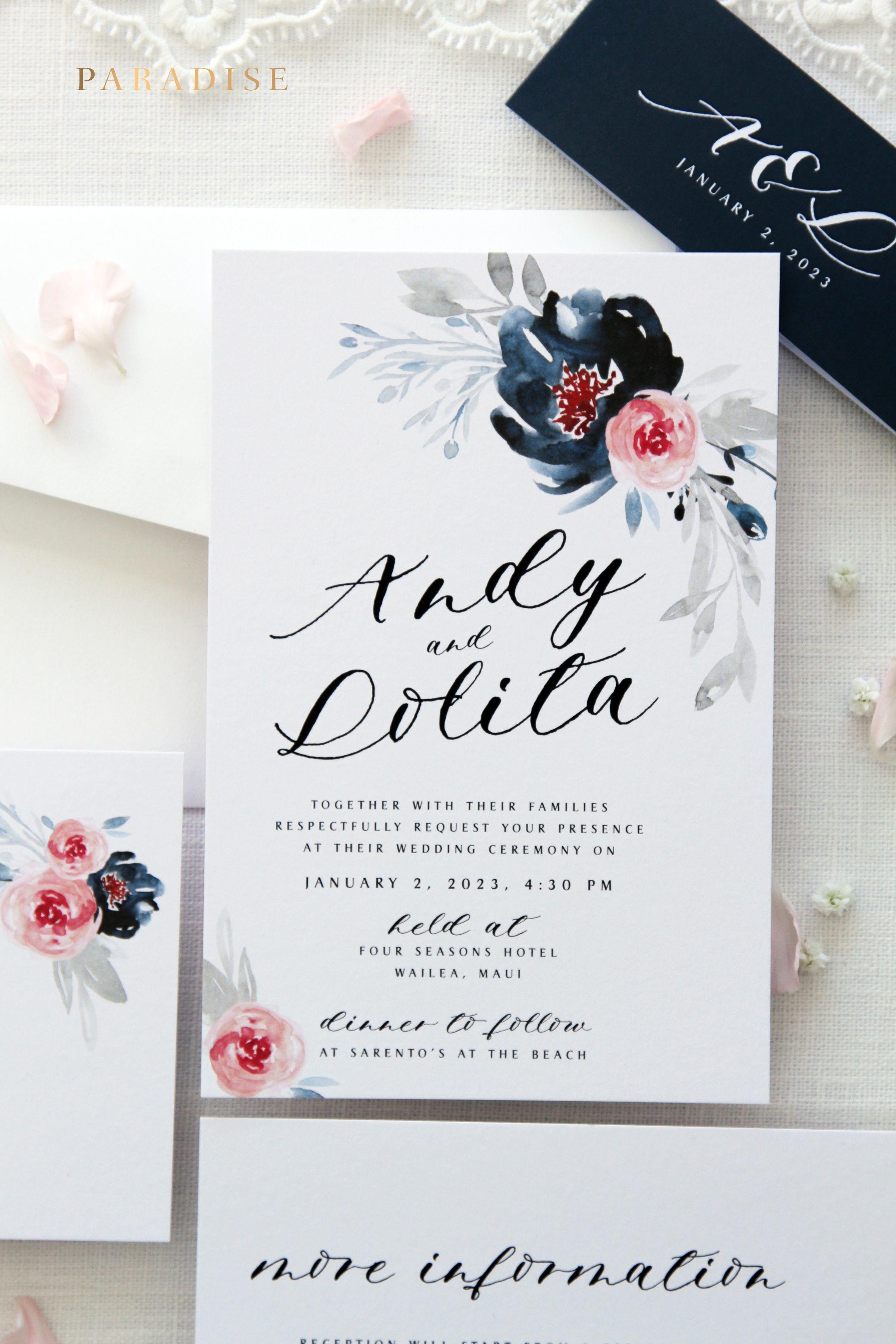 Liberty Watercolour Flowers Wedding Invitation Sets, Printable ...