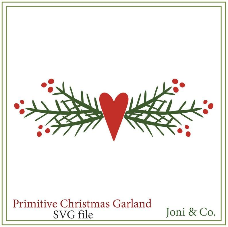 Primitive Christmas svg, Primitive Garland svg,,Ch