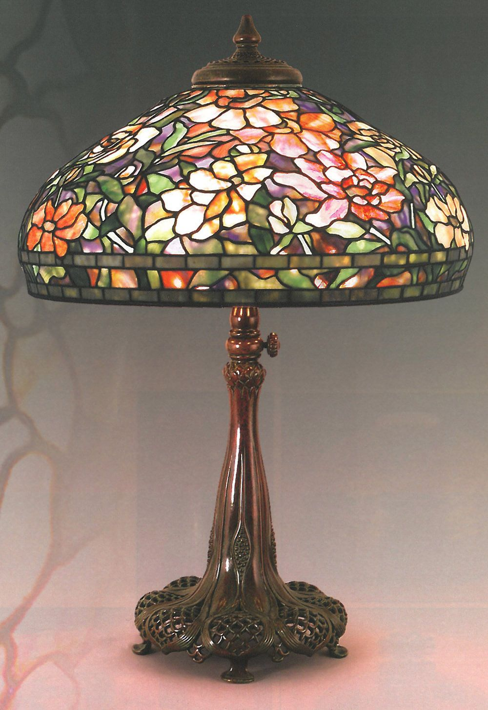 Authentic Tiffany Lamp In The Peony Pattern On A Very Nice