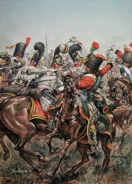 Austerlitz 1805 Russian Chevalier Garde Versus French Chasseurs A Cheval Of The Imperial Guard War Art Painting Military Art