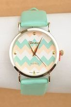 Chevron Time Watch Mint Multi $21.95! Obsessed with this watch! www.kellybrettboutique.com