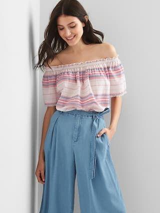 Stripe off-shoulder top | Gap