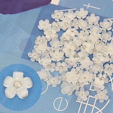 10pcs cabochão branco Flatback flores de resina com strass handmade material de artesanato diy – BRL R$ 6,27