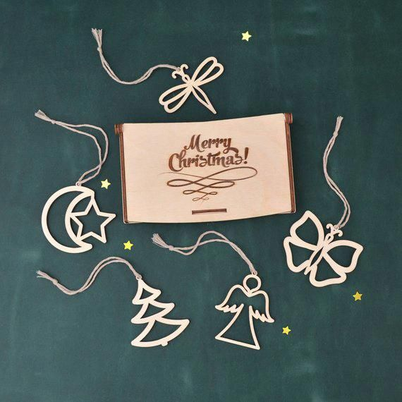 Set of 5 WOODEN CHRISTMAS ORNAMENTS   Christmas Decoration - Wooden
