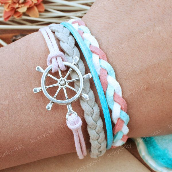 wheel bracelet macrame charm pin ships nautical