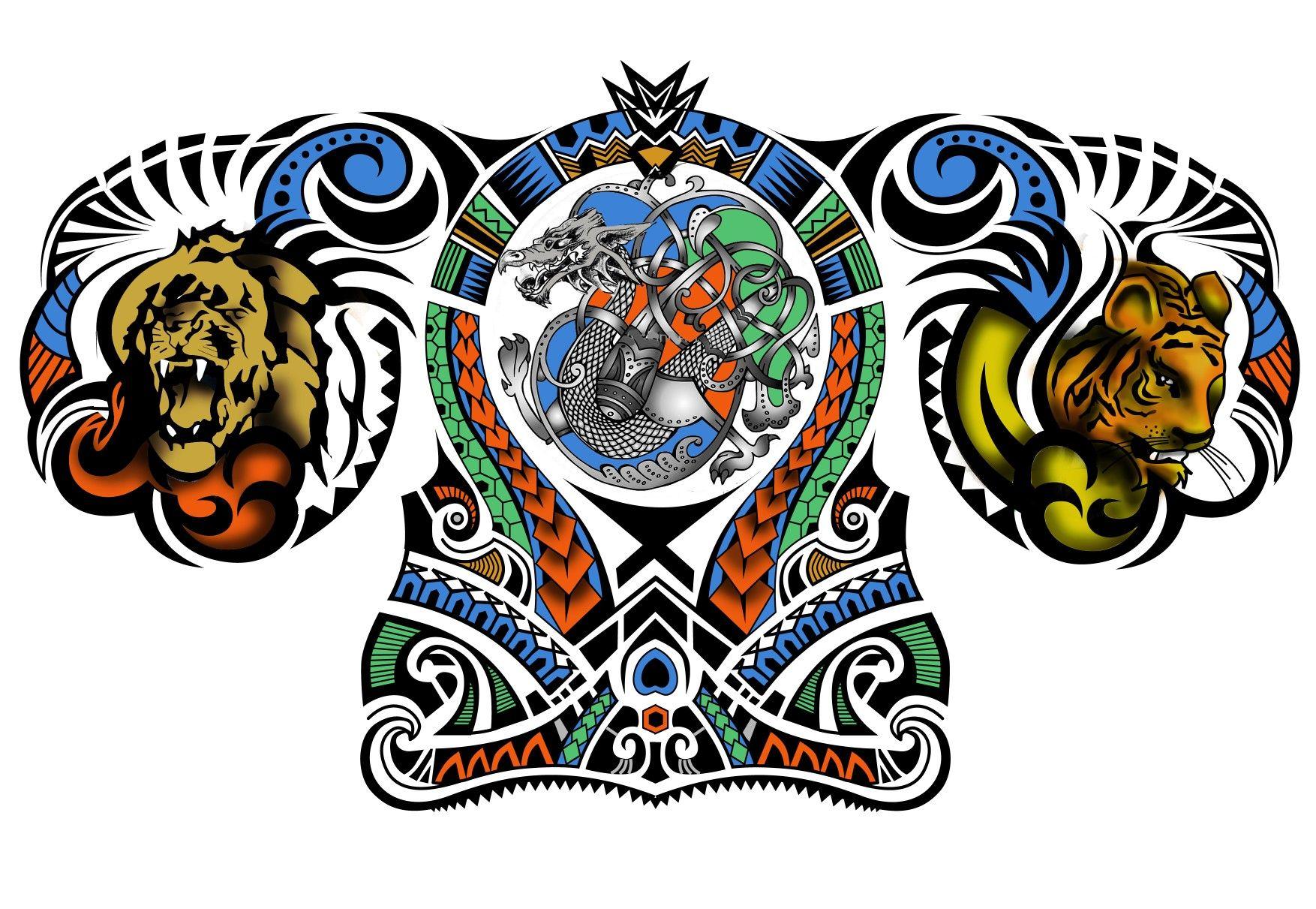50 Colored Polynesian Samoan Maori Tribal Half Sleeve