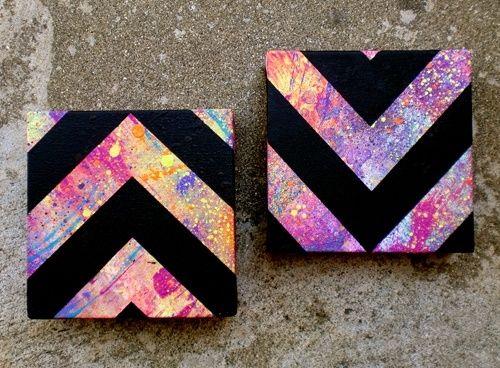 DIY Paint splatter Chevron wall art. by purpleivy #kidsbedroomsandthings