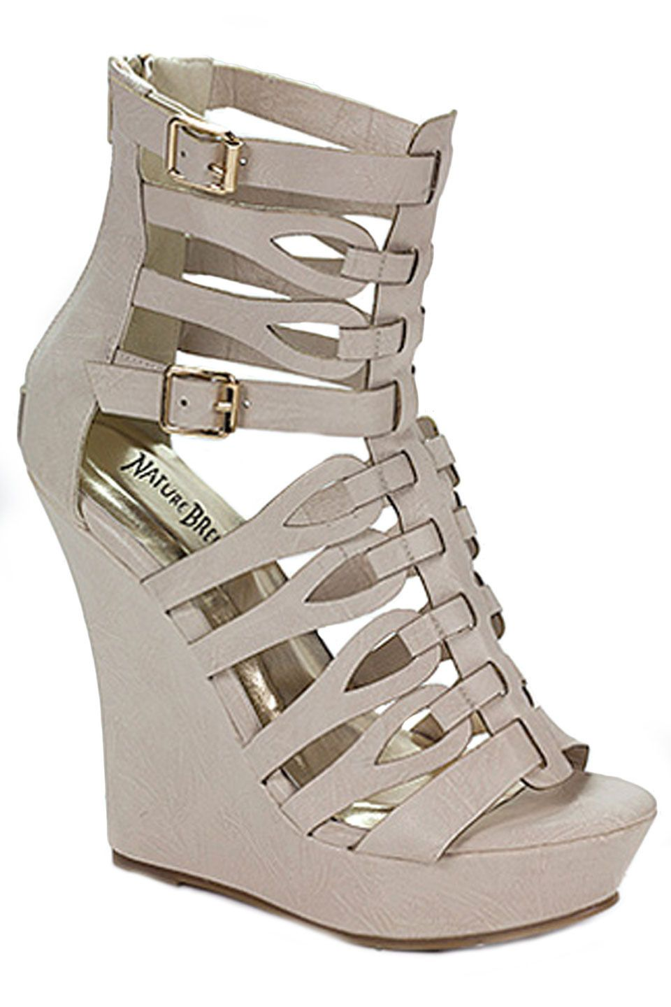 Twin Tiger Bangkok-01 Open Toe Strap Wedges in Off White - Beyond the Rack $24.99