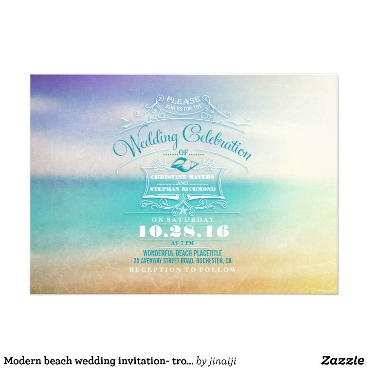 Modern beach wedding invitation- tropical blue sea | BEACH ...