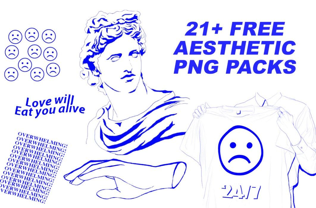 21 Free Aesthetic Png Packs Aesthetic Stickers Blue Aesthetic