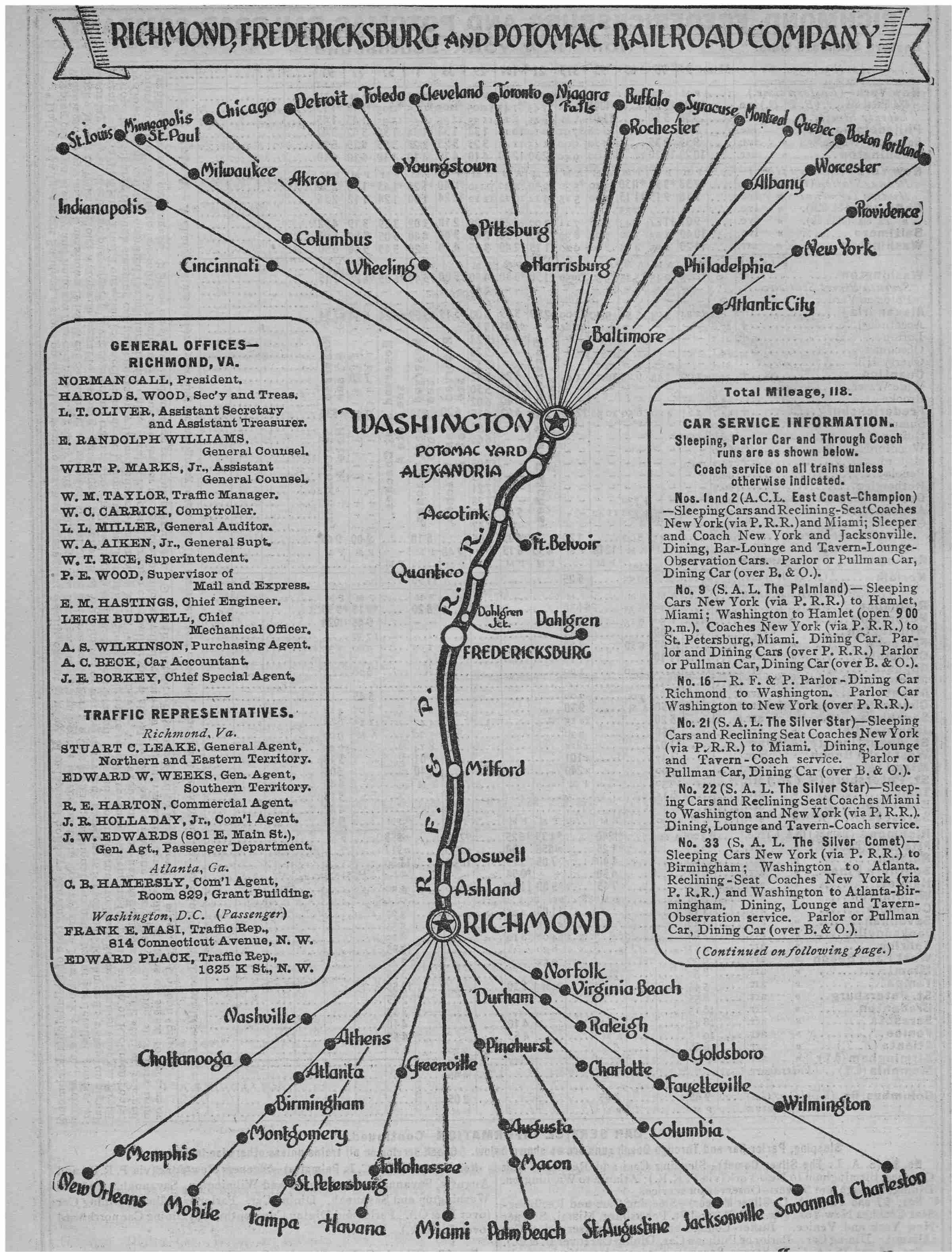 RFP map Richmond Fredericksburg Potomac 1950 RFP RR