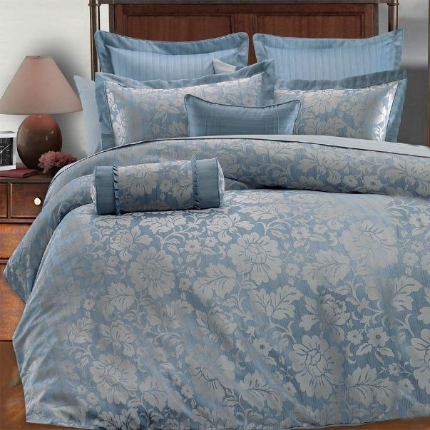 9pc Light Blue Silver Gray Floral Design Comforter Set Full Queen