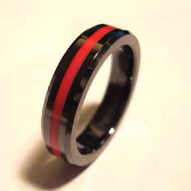 steel red products black silver firefighter stainless line rings image backdraft product chrome bracelet yay engagement