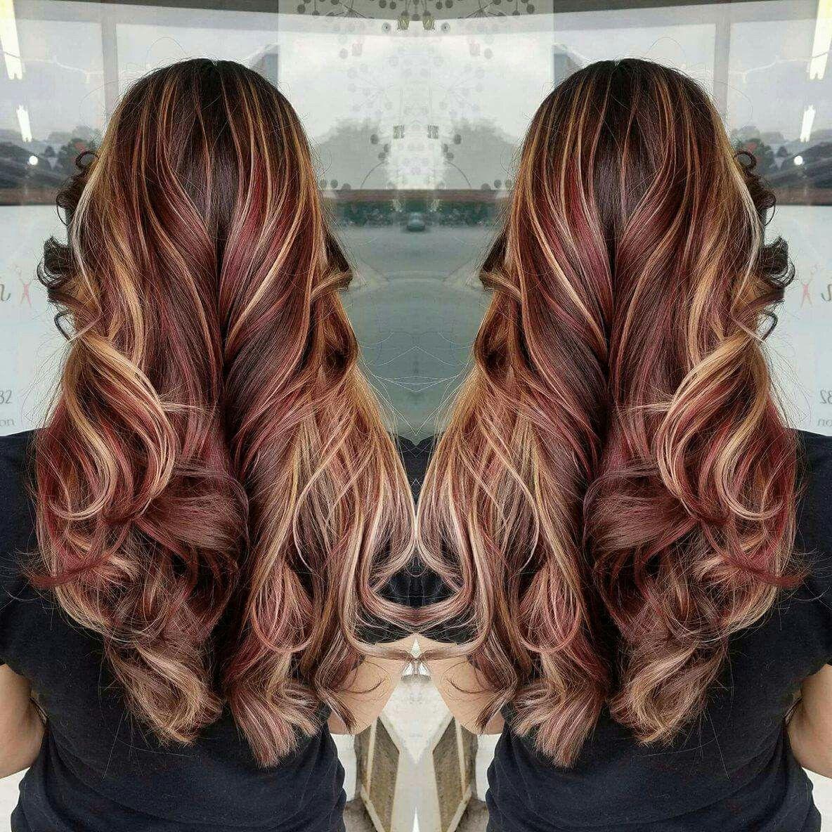 Red Hair Brown Hair Blonde Highlights Burgundy Hair In 2020 Burgundy Blonde Hair Burgundy Hair Long Hair Styles