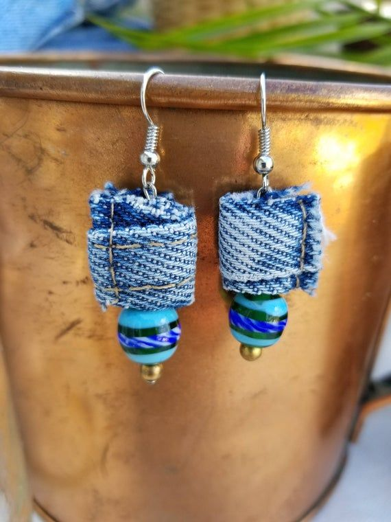 Unique Recycled Denim Nubs with Recycled Blue & Gr