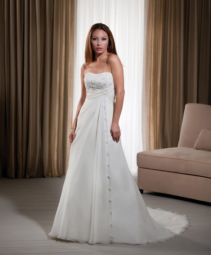 tube top designer bridal gown with applique and ruching chiffon