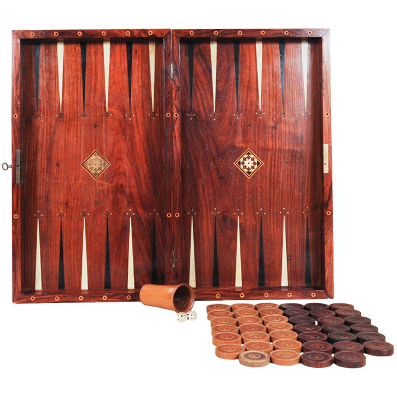 18th Century Backgammon Board of rosewood and mahogany