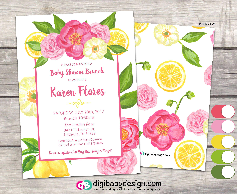 Lemons and Roses Baby Brunch Invitation, Baby Shower in White, Pink ...