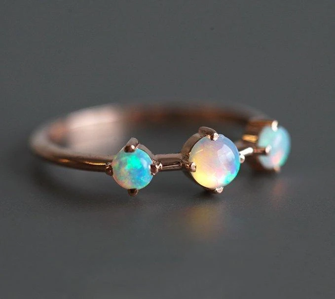 Opal Ring, October Birthstone Band – Capucinne
