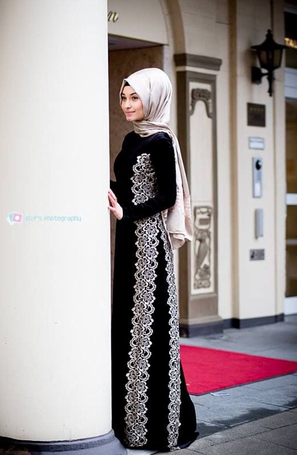 Long sleeve dress with lace design hijab pinterest lace design