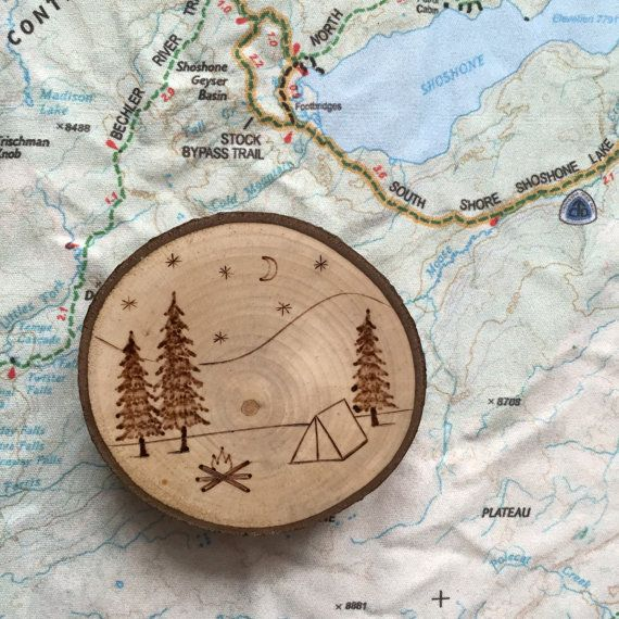 Ready to Ship Wood Burned Camping Scene with by ForageWorkshop