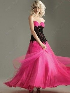 Tulle Sweetheart Floor-length Princess Lace Prom Dresses -NZD$215.99