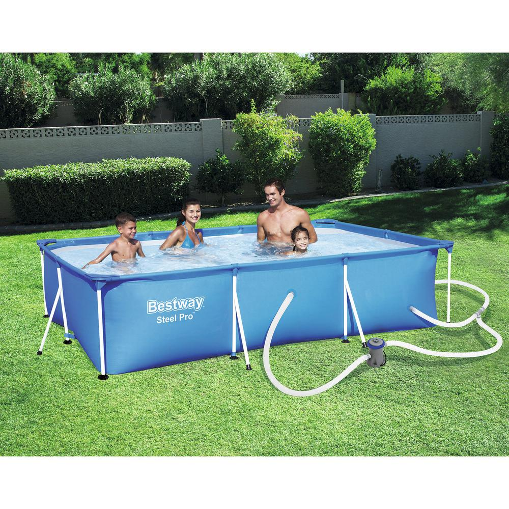 Bestway 118 In X 79 In X 26 In Deep Rectangular Steel Frame Swimming Pool Set Plus Debris Tarp Cover 56412e Bw 58106 Bw The Home Depot In 2020 Best Above Ground