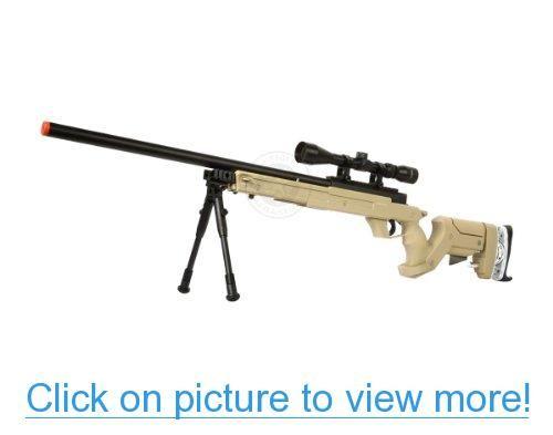 WellFire SR22 Bolt Action Type 22 Sniper Rifle w/ Scope $ Bipod - TAN
