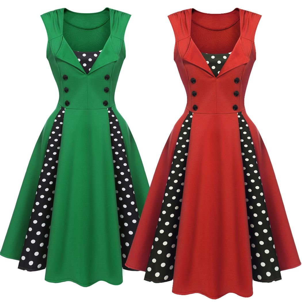 Click to buy ucuc womenus patchwork size dots polka style women