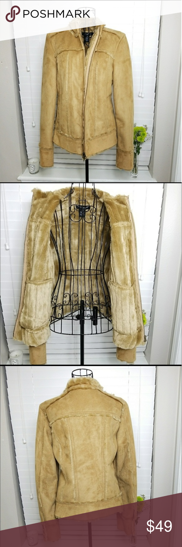 Calvin Klein Vegan Leather Faux Fur Lined Jacket Line