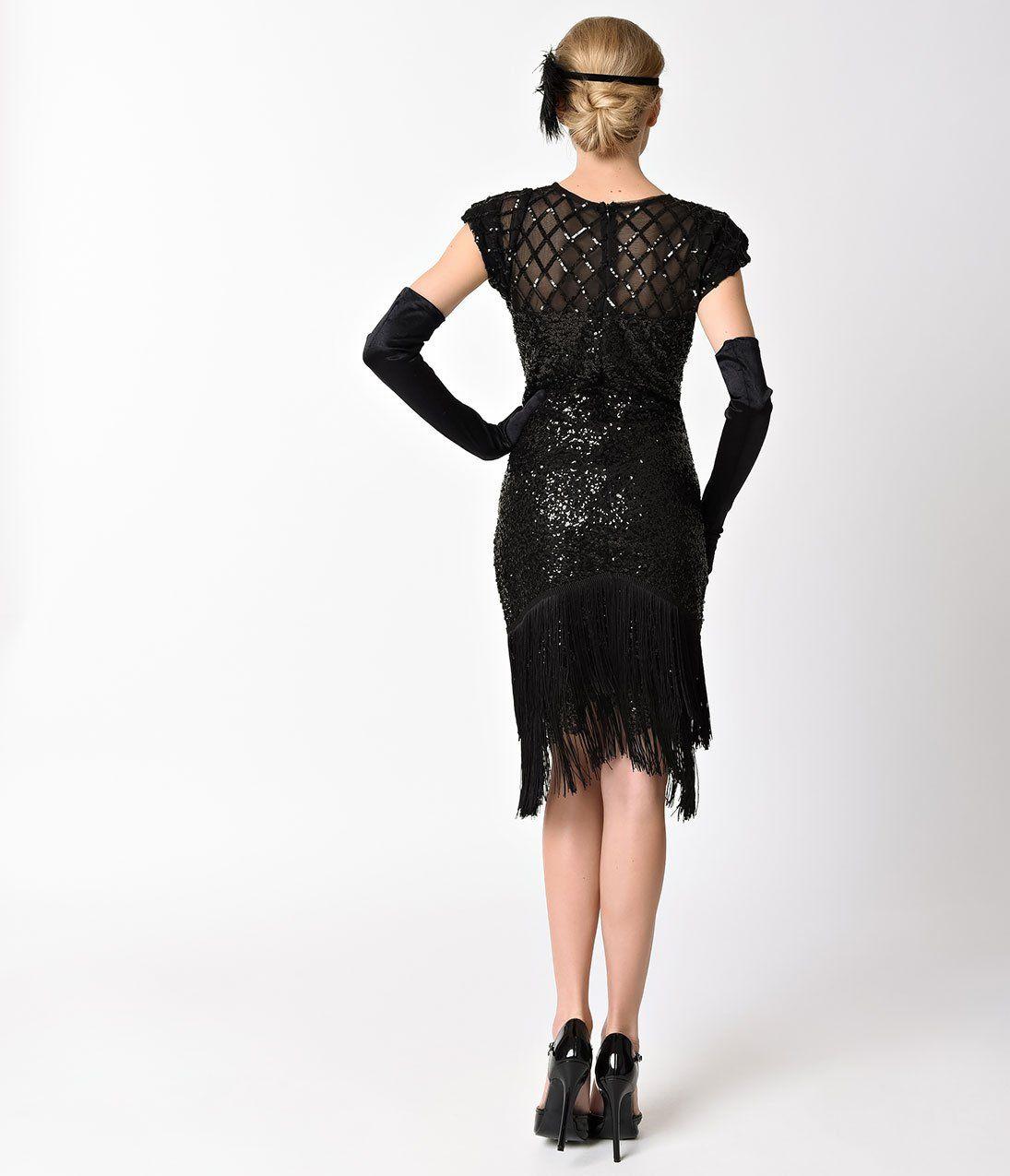 9d9d24ecbdf Frock and Frill Grey Beaded Fringe Cap Sleeve Cyra Flapper Dress – Unique  Vintage