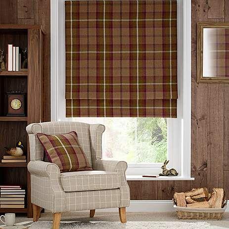 plum highland check blackout roman blind dunelm living. Black Bedroom Furniture Sets. Home Design Ideas