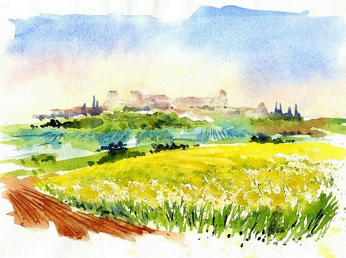 Idee Aquarelle Landscape Sketch Watercolor Landscape Watercolor