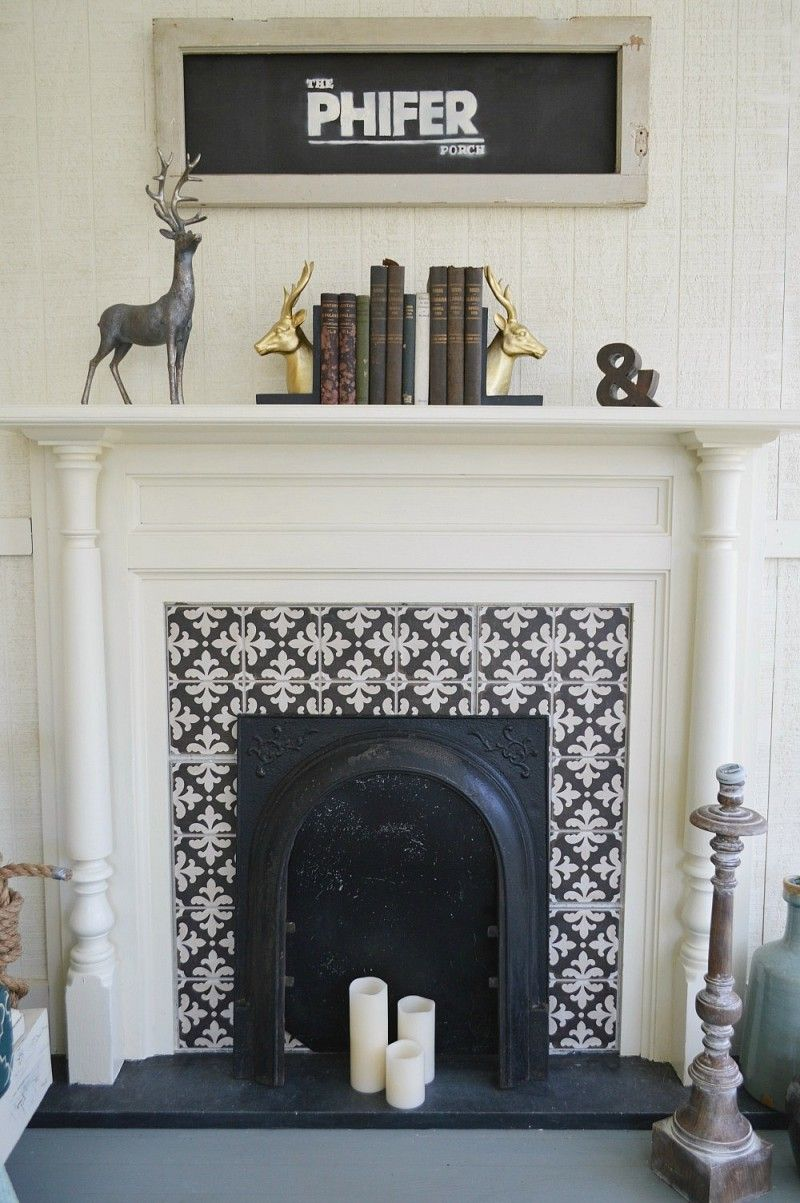 Original Fireplace In A Southern Fixer Upper Repurposed As Decorative Accent On The Covered Porch Cement Tile Surround