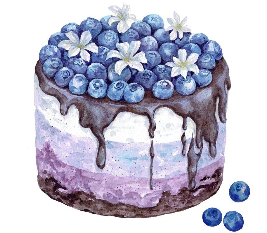 помощью торт рисунок акварелью неприхотлив, ему нужен