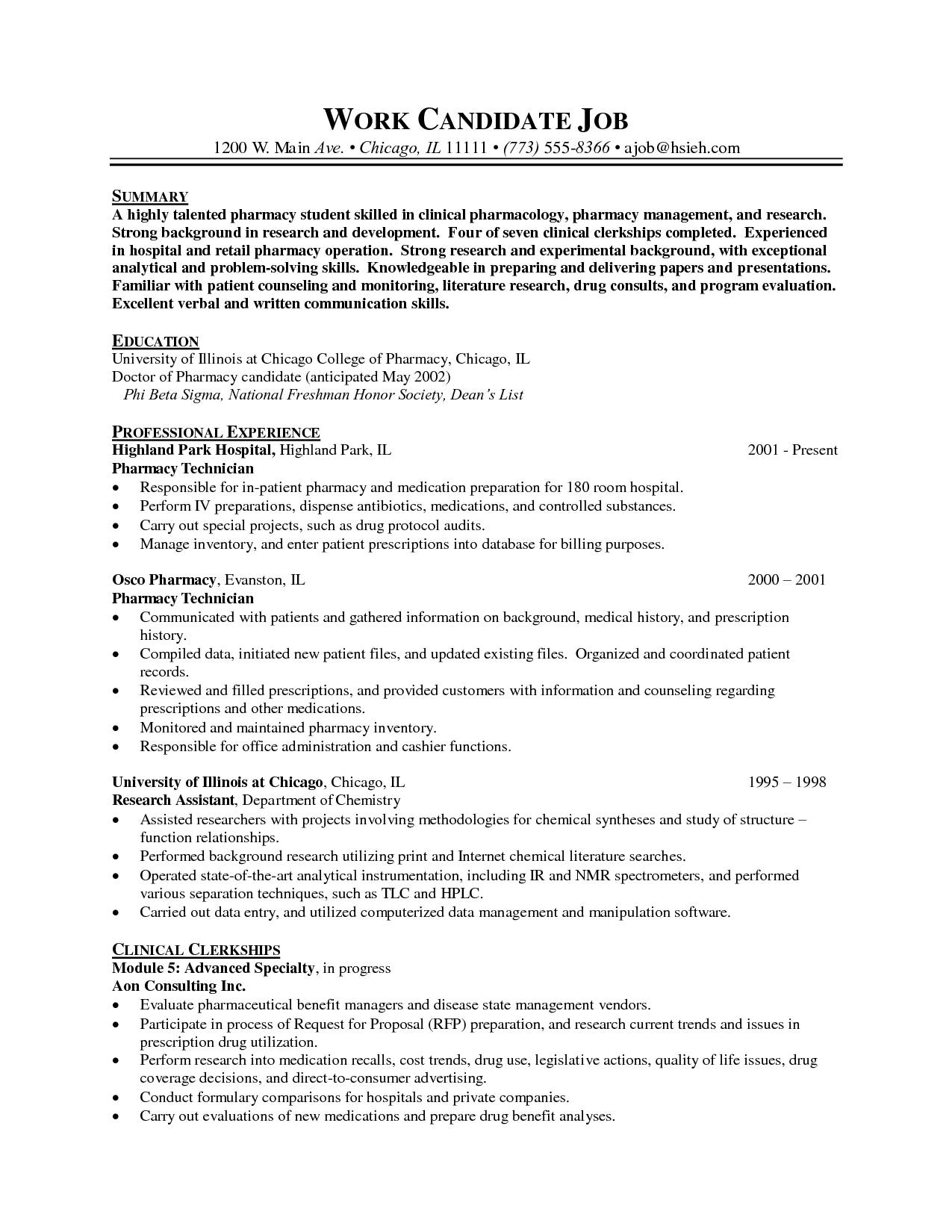 Sample Pharmacy Tech Resumes