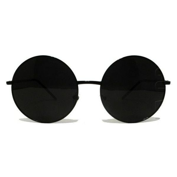 Image Of Round Oversize Metal Frame Sunglasses Black Lunettes Liked On Polyvore Featurin Circular Sunglasses Round Metal Sunglasses Metal Sunglasses