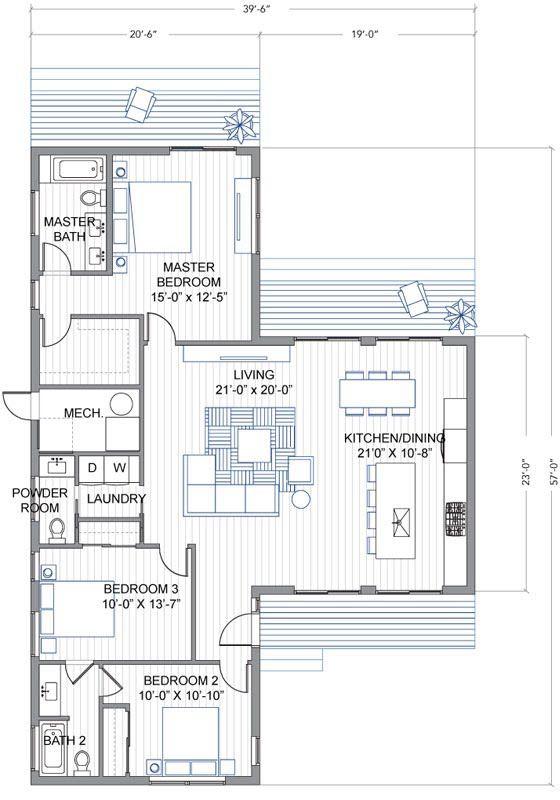 Plano de casa de un piso y tres habitaciones for Plano construccion casa