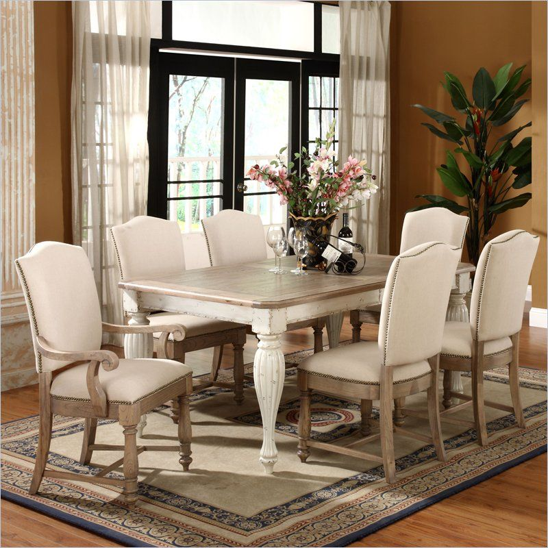 Riverside Coventry Two Tone Dining Table In Driftwood And White Amusing End Chairs For Dining Room Inspiration Design